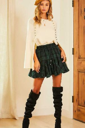 Adjustable Tie Ruffle Tartan Skort